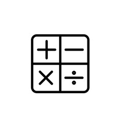 line calculator icon on white background vector image