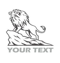 lion roaring on mountain hill logo design vector image