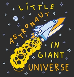 Little astronaut in giant universe vector