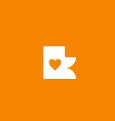 Love heart orange white alphabet letter k vector