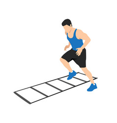 Man making drill training on agility ladder vector