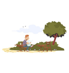 man reading at table in park vector image