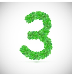 Number three made up of green leaves vector image