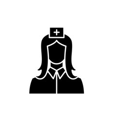 nurse black icon sign on isolated vector image
