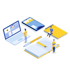 online education isometric banner with characters vector image
