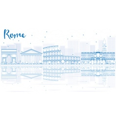Outline Rome skyline with blue buildings vector