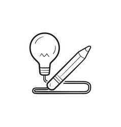 pencil with light bulb hand drawn outline doodle vector image