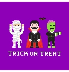 Pixel art game style cartoon halloween mummy vector