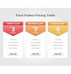 Price table for commercial web services vector image