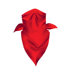 red realistic bandana on head youth fashion neck vector image
