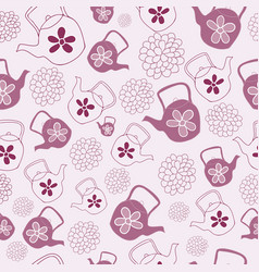 red teapots seamless pattern design vector image