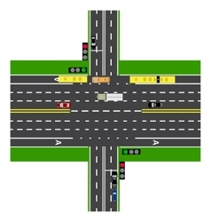 Road infographics large highway intersection vector