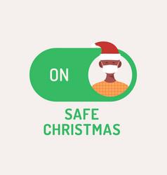 Safe christmas concept face mask safe mode switch vector