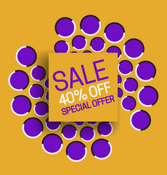 Sale 40 off special offer banner text on orange vector