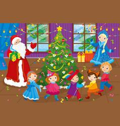 Santa claus and children dancing around christmas vector