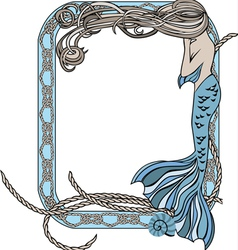 Sea frame with mermaid and knots vector