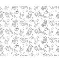 seamless pattern of olives and olives branches vector image