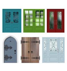 set of different white door vector image