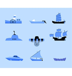 Set of flat icons of different ships vector
