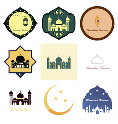 Set of icons in flat style ramadan vector