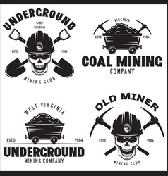 Set of mining or construction logos badges vector
