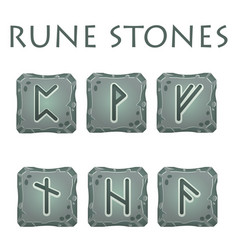 Set of square grey rune stones vector