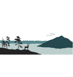 silhouette a mountain lake panorama forest vector image