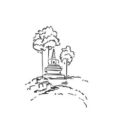 Sketch small buddhist stupa surrounded vector