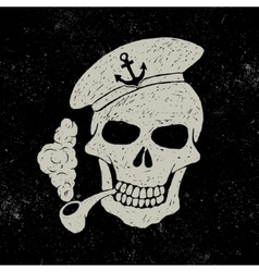 Skull-sailor with pipe vector image