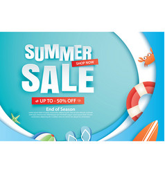 Summer sale with decoration origami on blue wave vector
