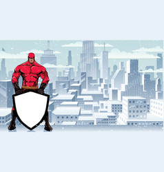 superhero holding shield on winter city vector image