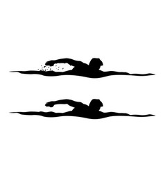 Swimmer silhouettes on white vector