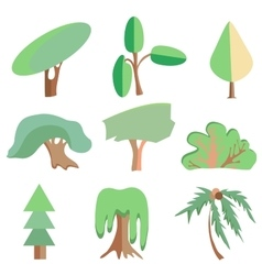 Trees palm oak spruce bush willow symbolic vector image