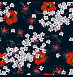 trendy floral pattern isolated seamless print vector image