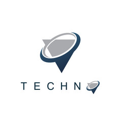 triangle orbit technology logo vector image