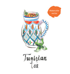 Tunisian tea watercolor vector