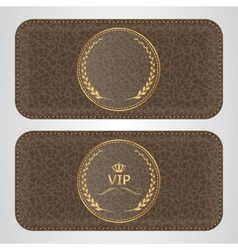 Two brown leather VIP horizontal banner with a vector image