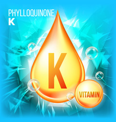 vitamin k phylloquinone vitamin gold oil vector image