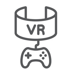 vr gaming line icon device and entertainment vector image