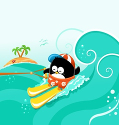 Water Skiing Penguin vector image