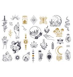 Witch magic symbols doodle esoteric boho vector