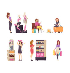 woman looking at mannequins and clothes set vector image