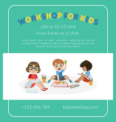 workshop for kids banner template with cute boy vector image