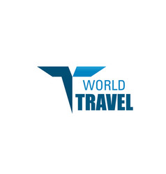 world travel agency letter t icon vector image
