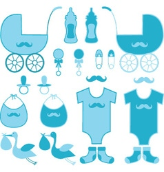 Baby Shower Boy Elements Baby Announcement vector image