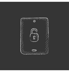 Digital tablet security Drawn in chalk icon vector image