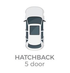 Five doors hatchback top view flat icon vector