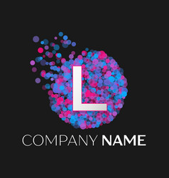 letter l logo with blue purple pink particles vector image vector image