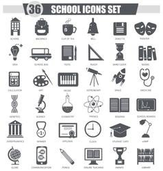 School black icon set dark grey classic vector