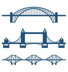 set of flat bridge icons isolated on white vector image